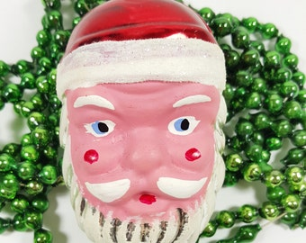 Vintage Santa Head Ornament. Made in Austria. Hand-Painted, Hand-Blown Glass Christmas Ornament. Vintage Chrimas Decorations.