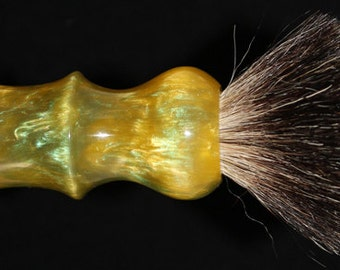 Custom Made 22mm Shaving Brush Handle Green and Yellow
