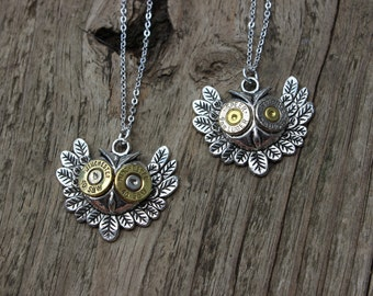 Handmade Owl  Bullet Necklace in Silver for the Country Hunting Girl .40 Caliber or 9mm