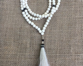 SALE Pink dip dyed tassel necklace with white wood beads