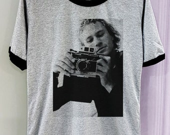 Heath Ledger Shirt Hot Legend Short Sleeve Two Tone White Grey Gray Tee Clothing
