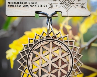 Lotus Seed Necklace - Laser Cut Maple