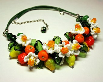 Handmade lampwork necklace with murano glass fruit, flowers and leaves, fruit necklace, glass necklace, lemons necklace, leather necklace