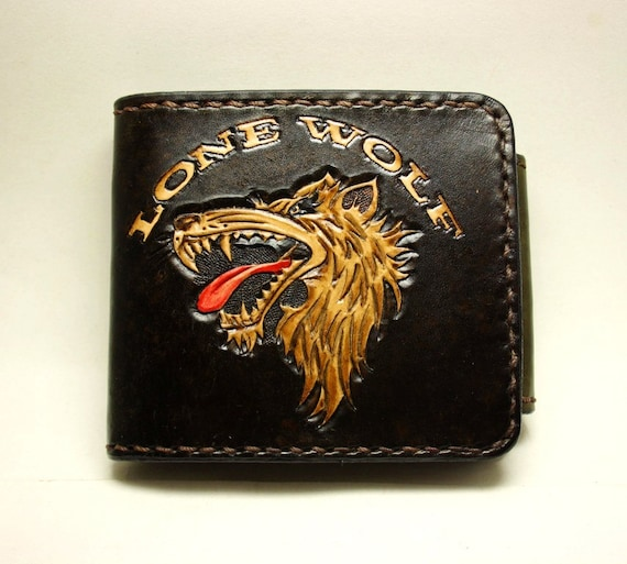 Handmade hand carved leather wallet men s by pfleatherglass