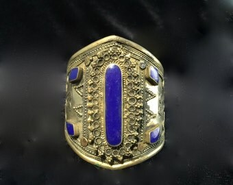Large Magnificent Moroccan Tribal Cuff Bracelet with Blue Lapis Stones