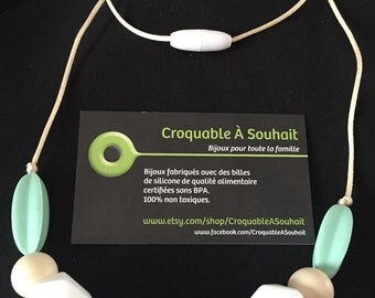Necklace silicone/necklace of teeth - grey and Mint