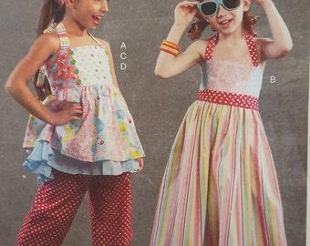 McCall's 6731, M6731 Sizes 6-7-8 Children's Top, Dress, Pants, Kerchief, Halter Dress, Summer Dress, Princess Seams,