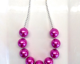 Bright Pink Valentines Day Chunky Bubblegum Toddler Girls Necklace