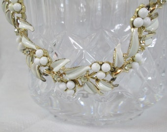 Vintage Coro White Gold Rhinestone Necklace Berries and Leaves