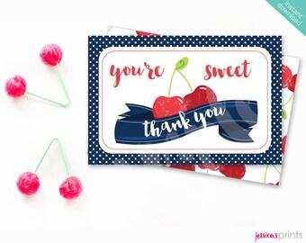 Instant Download Sweet Cherry Printable Thank You Card, Red Cherry Thank You Note Card, Cherry Party Printable, Vintage Cherry