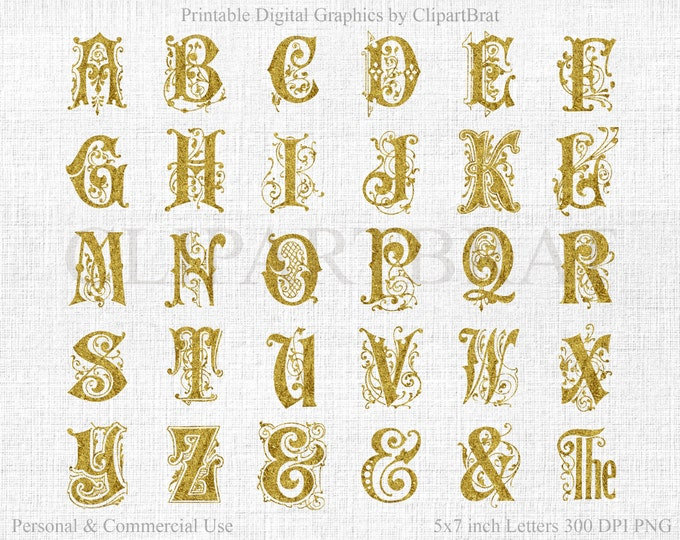 METALLIC GOLD MONOGRAM Alphabet Clipart Commercial Use Clipart Gold Foil Alphabet Letters Digital Monogram Alpha Wedding Font Gold Monogram