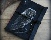 NIGHT OWL leather journal, sketchbook, A5 size, one of a kind handmade, leather notebook, barn owl, moon journal, owl journal, metallic, red