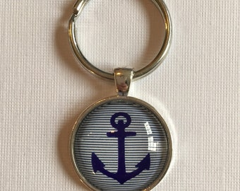 Anchor (Beach) Glass Dome Necklace, Pendant or Keychain Key Ring. Gift Present metal round art photo jewelry by Bohemian Marvels