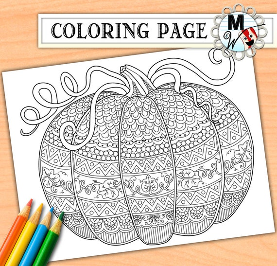 Pumpkin coloring page for adults fall adult by metwhimdigital for Pumpkin coloring pages for adults