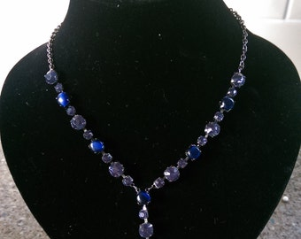 MASSIVE REDUCTIONS Art Deco Style Blue Glass Y Drop Necklace