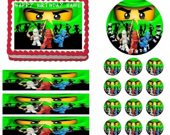Ninjago Green Face Edible Cake Topper Image, Ninjago Cupcakes, Edible Photo, Cake Image, Cake Pictures, Ninjago Party Supplies