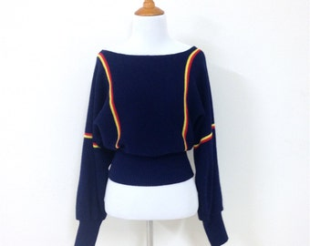 70s Dark Blue With Red Yellow Stripe Off Shoulder Tight Waist Cropped Slouchy Sweater Medium