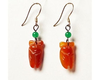 Darling Carnelian Brown And Green Jade Sliver Dangling Earring