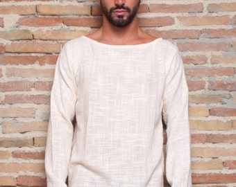 Men Khadi Shirt, Men long sleeve shirt, Men Khadi top, men tribal shirt, men cotton shirt, Hippie shirt, primitive shirt