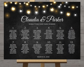Chalkboard wedding seating chart, large reception signs printable, rustic, fairy lights, black board chalk style, table numbers, DIGITAL PDF