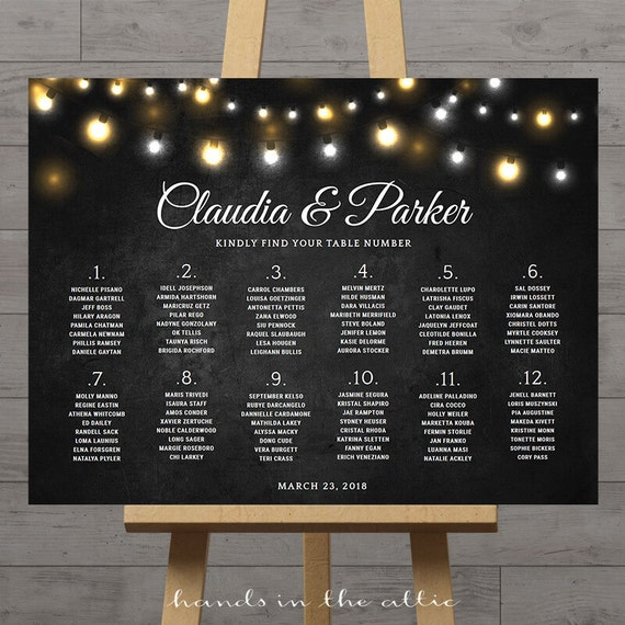 Printable Seating Chart For Wedding Reception: Chalkboard Wedding Seating Chart, Large Reception Signs
