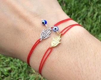 Red String Hamsa Evil Eye Bracelet Gold Hamsa Bracelet Hamsa Hand Hand of Fatima Evil Eye Protection amulet Fatima Hand Amulet Lucky Eye