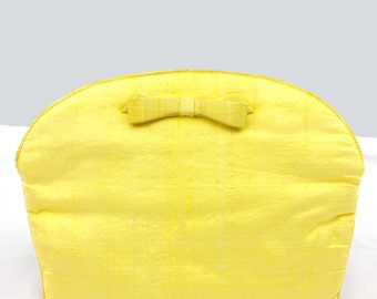MORRIS MOSKOWITZ Vintage Yellow Raw Silk and Satin Clutch 1950's 1960's - Vintage Wedding