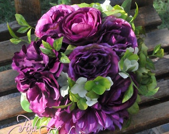 Rose and Hydrangea Silk Bridal Bouquet in green and purple! On  Sale!! reg.  109.00 now  89.00!!!