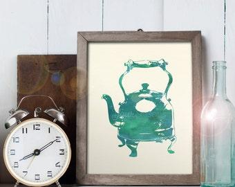 Tea Kettle Art - 8x10 printable digital file - INSTANT DOWNLOAD!
