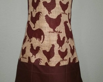 Full Apron - Burlap Rooster - MADE to ORDER