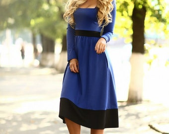 Indigo dress- Blue Midi dress-Long sleeves jersey dress