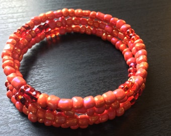Seed bead bracelet: Pink Perfection