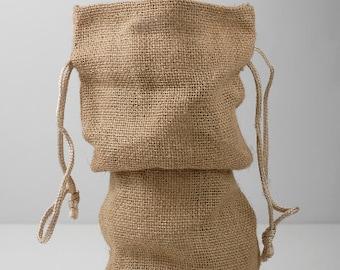 """5 Burlap Drawstring Wine Bags, Gift Bags, Burlap Bags, Wine Bag 15"""" Tall"""