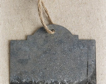 12 Galvanized Chalkboard Tags Labels, Twine Hanger, Rustic Wedding 2.75""
