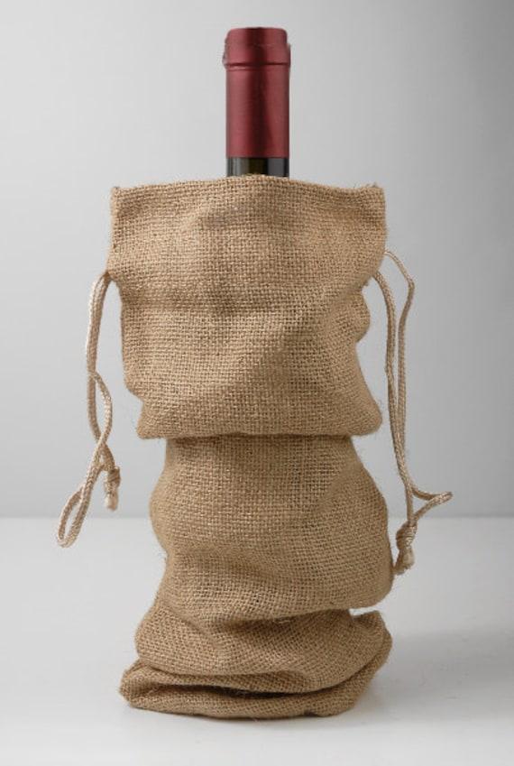 Burlap drawstring wine bags gift