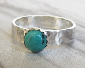 Silver and Turquoise Ring - Chinese Turquoise Wide Band Ring - Green Stone Ring - Silver Turquoise Thick Band Ring - Chunky Silver Rings