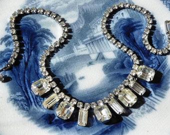 WEISS Rhinestone Necklace  / Choker Bib