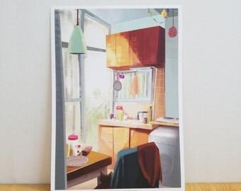 Original Art Print - Kitchen Art - Original Digital Illustration - Wall Decoration Poster - Mother Present - Housewarming Gift