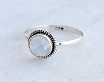 Fire Rainbow Moonstone ring, Real Stone Gemstone Ring Size US 4 5 6 7 8 9 10