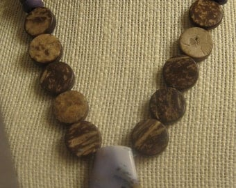 Amethyst Sage Chalcedony & Wood Necklace