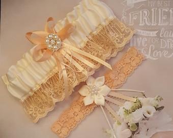 Peach and Cream garter set,Cream and Peach Wedding garter set,Peach lace garter set,Peach Bridal garter set,Plus size garter,Petite garters
