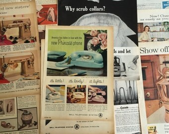 Lot of Vintage 1960s Grocery Ads - 1960s Advertising  - Vintage Magazine Ads - Bell Telephone, Cascade, Singer, Johnson