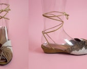 THE COWGIRL - 1940's Inspired Natural Cow Hair-On Cowhide Leather Adjustable Ankle Strap Wedge Sandal & Lace-Up Front - Size 5 to 12