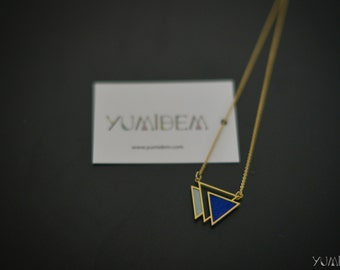 gold plated Royal Blue and sky blue triangle geometric necklace