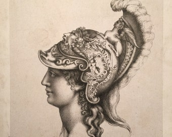 Early Engraving of Roman Figure with Helmet - 1800s