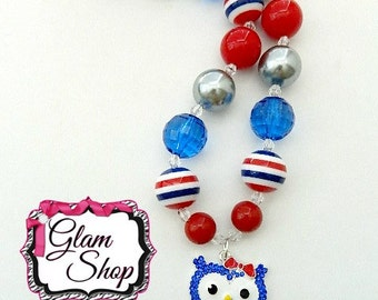 Red White Blue Chunky Necklace - Chunky Bubblegum Necklace 20mm Birthday Gift - Bubblegum Beads Chunky Necklace Red, White, Blue Patriotic