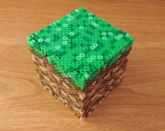 Minecraft Grass Block 3D Perler Box