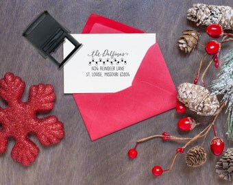 Custom Christmas Return Address stamp, Christmas Stamps, Custom Christmas Stamps, Return Address Stamps, Custom Stamp --SI-4929-Dalfinos