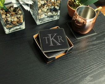 Personalized Leatherette Coasters, Laser Engraved Coasters, Custom Leatherette Coasters, Black Leather Coasters --CST-B-TKR