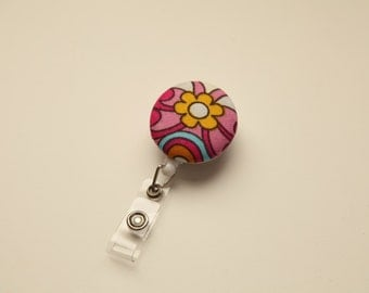Groovy Flower Retractable ID Badge Reel - FREE SHIPPING with another purchase - Name Badge, Tag, Nurse , Teacher Badge Holder